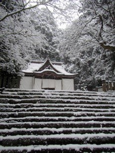 雪の平泉寺白山神社本殿