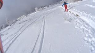 山スキーとスノーシューの登山者