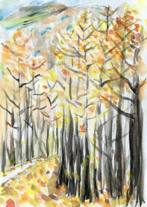 秋の里山 紅葉した木々の合間に会津駒ヶ岳が顔を出す