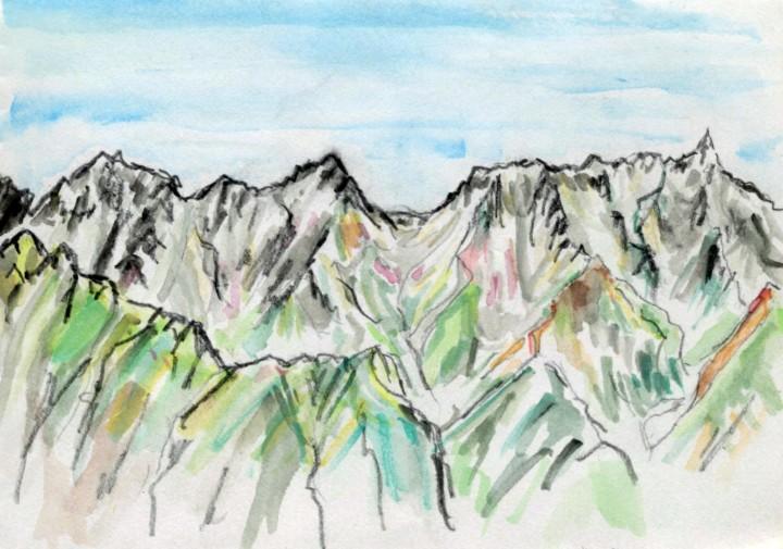 今回歩いた素敵な山々を振り返りながら描く