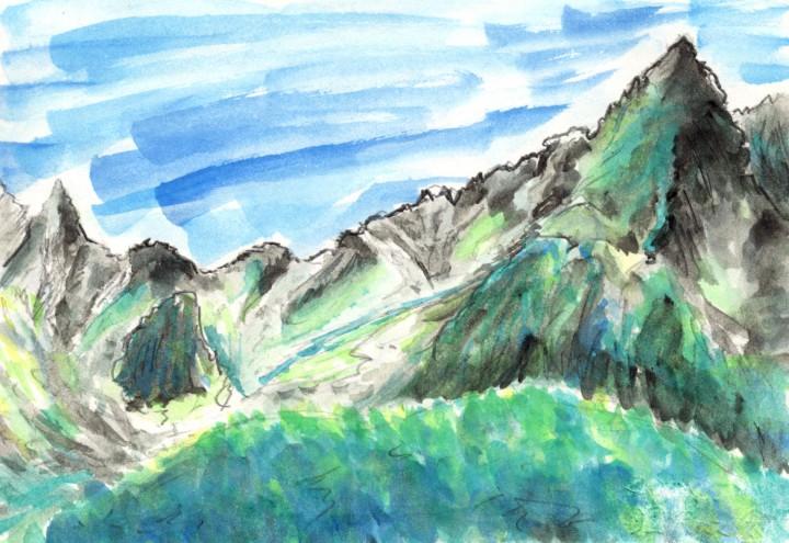 涸沢から見上げたギザギザ稜線