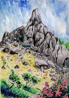 画:地蔵岳のオベリスク