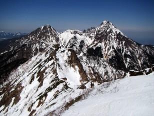 キレット越しの赤岳、阿弥陀岳