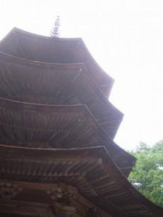 見上げる八角三重の塔