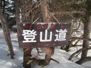 登山道 弥勒尾根の矢印