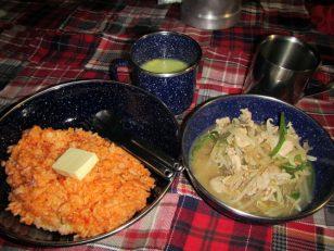 チキンライス 春雨肉野菜炒め