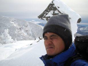 雪の根子岳頂上にて
